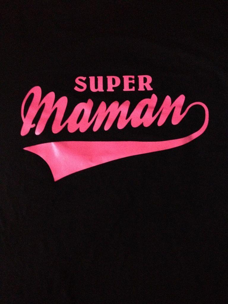 Tee shirt femme, cadeau spécial fêtes des mères, super maman fluo rose