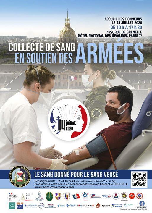 DON DU SANG... LE 14 JUILLET.. HOTEL DES INVALIDES . PARIS.