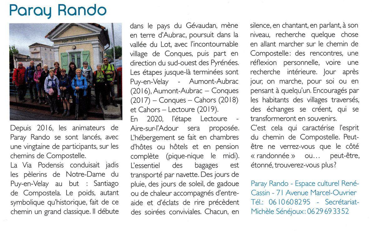 Chemins de Saint Jacques: l'article de l'Info-Village