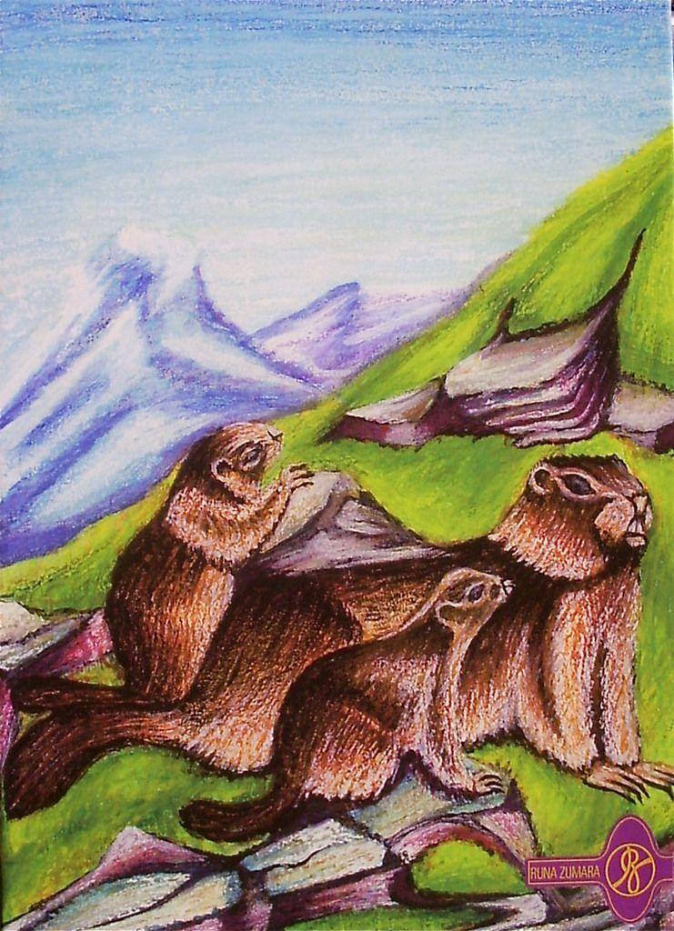 Die Murmeltiere / Ölkreide,Wasserfarbe RZ © 1996 / Privatbesitz