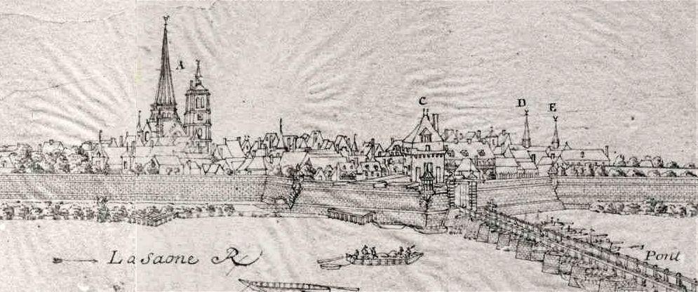 Auxonne par Royer en 1719, Porte de France sur le front de Saône sous la lettre C