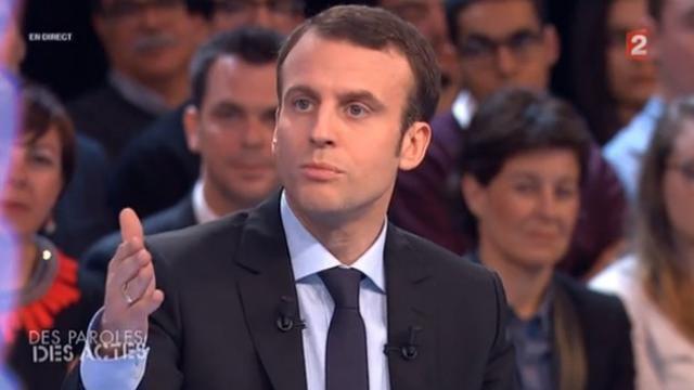 Emmanuel Macron à l'émission des Paroles et des actes diffusée sur Antenne 2