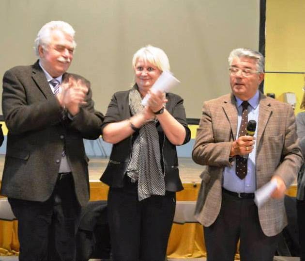 André Chassaigne à gauche au côté de Michèle Picard et d'André Gerin