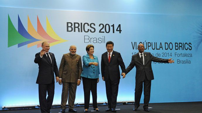 July 15, 2014. BRICS leaders -- President Vladimir Putin, Indian Prime Minister Narendra Modi, Brazilian President Dilma Rousseff, Chinese President Xi Jinping and South African President Jacob Zuma (from left to right) -- pose for a group photo in the Congress Center in Fortaleza. (RIA Novosti/Michael Klimentyev)