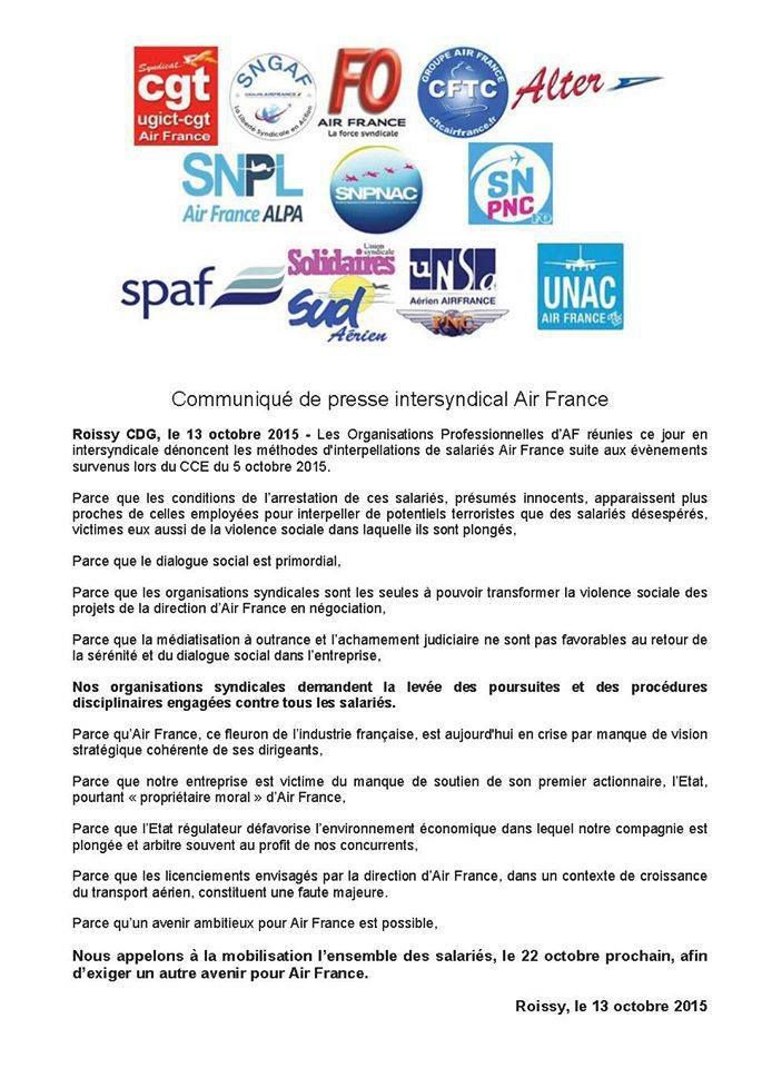 Tract unitaire des syndicats Air France