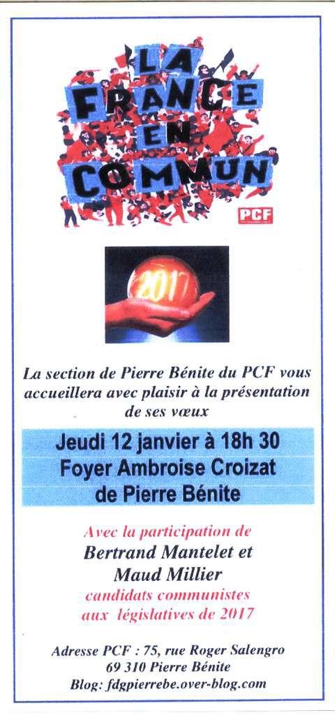 12 janvier à 18h 30 voeux de la section de Pierre Bénite