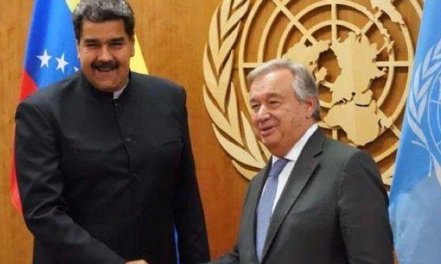 Nicolas Maduro, le président élu et légitime avec Antonio Guterres secrétaire général des Nations Unies