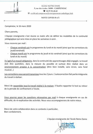 Note d'information Covid-19