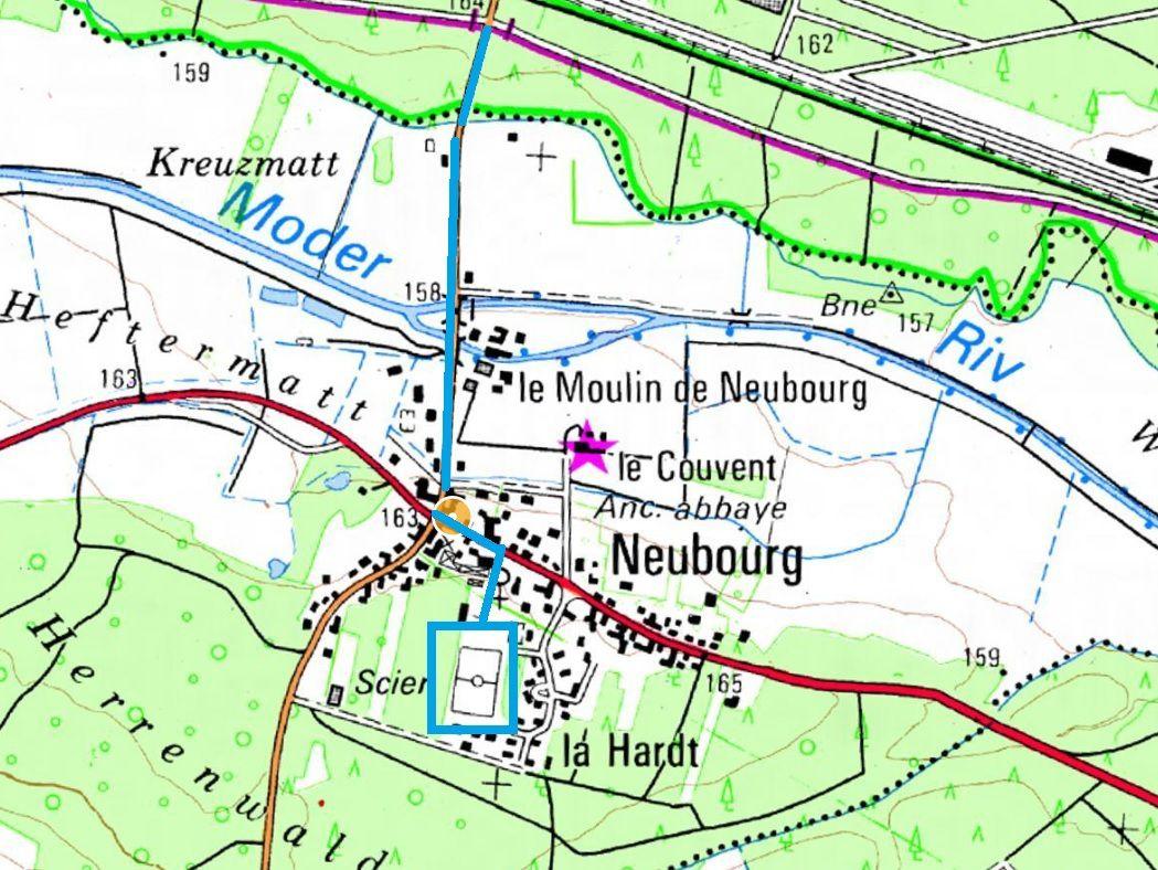 emplacement du terrain de foot à Neubourg.