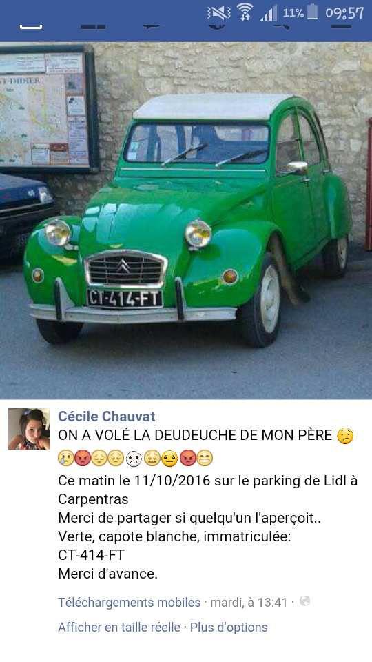"""VOL DE 2CV dans le VAUCLUSE - """" Deuch Verte """" Volée a Carpentras sur le parking d' ALDI."""