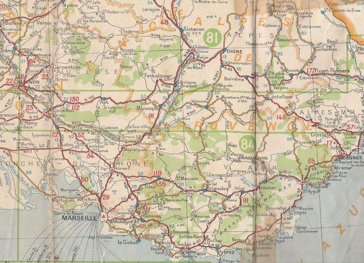 Extrait de la carte MICHELIN 99 année 1939