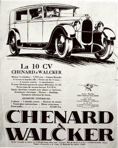 Recherche une trace de la CHENARD & WALCKER type TT 10- 12 HP de 1919 - Châssis N° 11765- carrosserie Torpédo