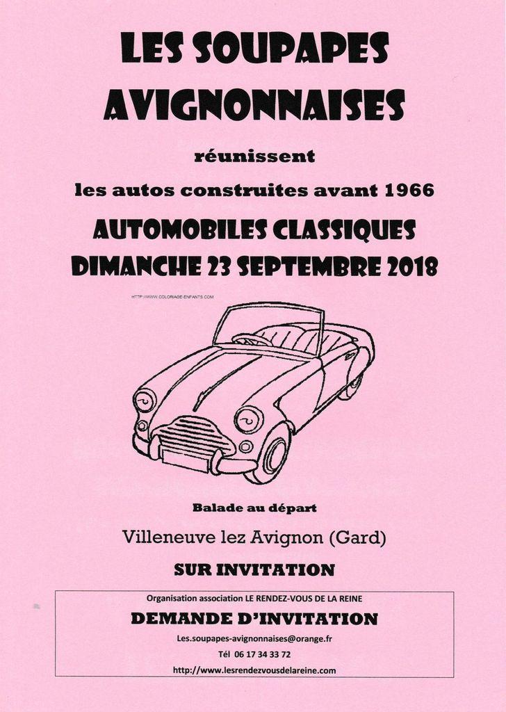 AUTOMOBILES  CLASSIQUES  avec LES SOUPAPES AVIGNONNAISES dimanche 23 SEPTEMBRE 2018