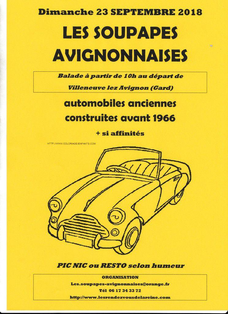 Dimanche 23 septembre 2018 AUTOMOBILES ANCIENNES BALADE avec LES SOUPAPES AVIGNONNAISES