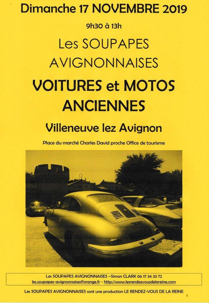 AUTOS et MOTOS anciennes à Villeneuve lez Avignon dimanche 17 NOVEMBRE 2019