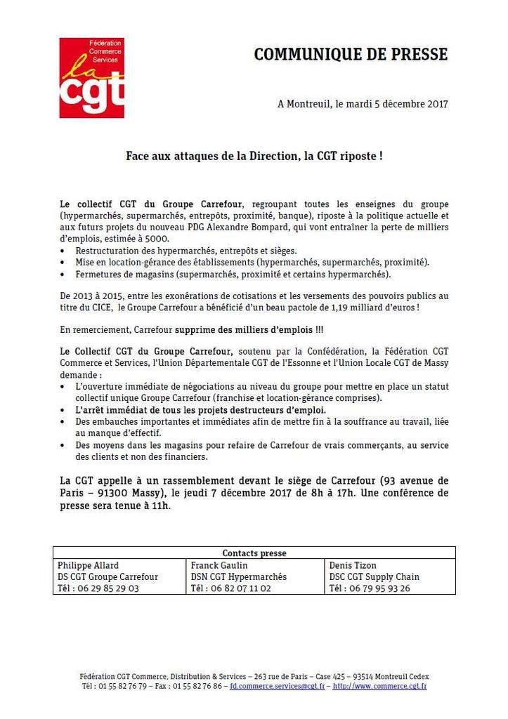 Carrefour: action CGT le 7 décembre devant le siège à Massy contre les destructions d'emplois