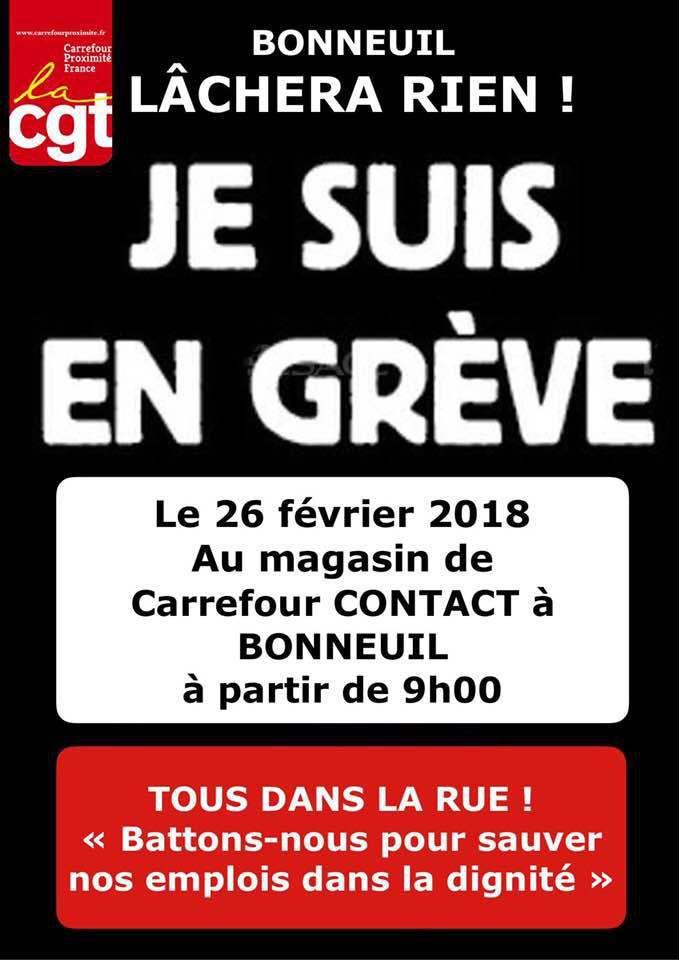 Carrefour contac à Bonneuil en grève le 26 février 2018