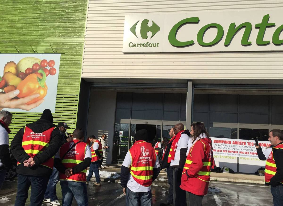 Grève CGT Carrefour Contact chilly Mazarin plan Bompard