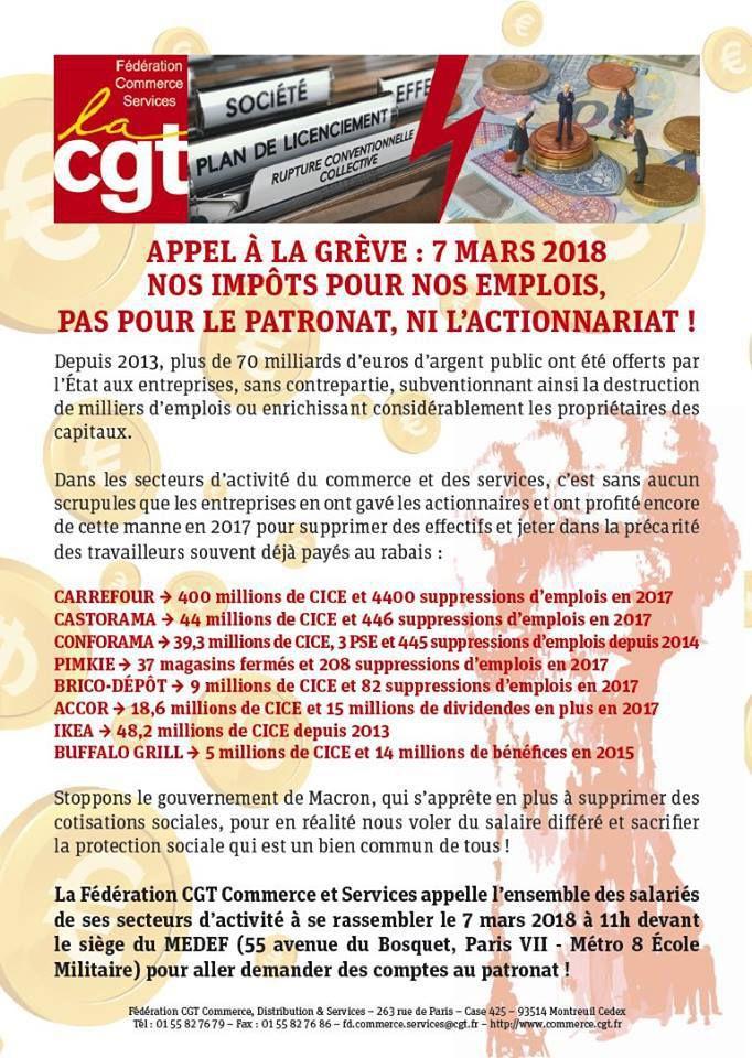 La Fédération appelle tous les salariés à se mobiliser et à se mettre en grève le 7 mars 2018 ! Rassemblement à 11h devant le siège du MEDEF.