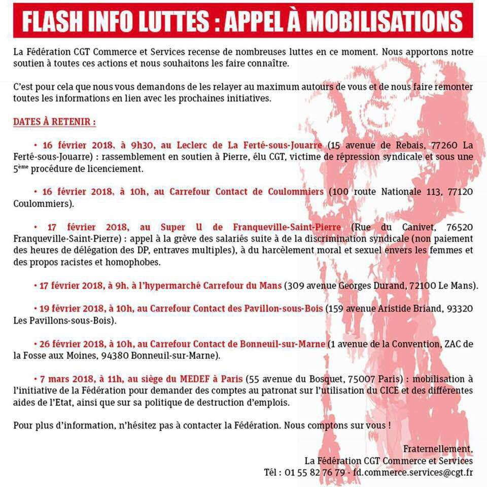 Flash info luttes: Appel à mobilisations
