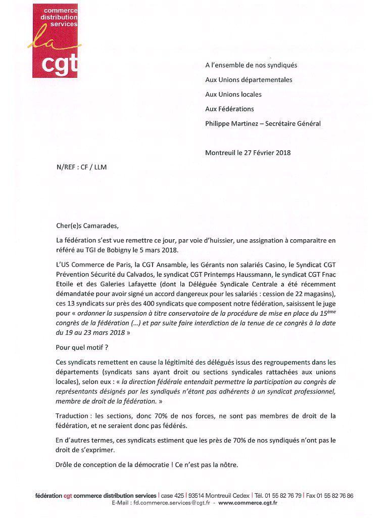 Assignation de la CGT à comparaitre au TGI de Bobigny le 5 mars 2018