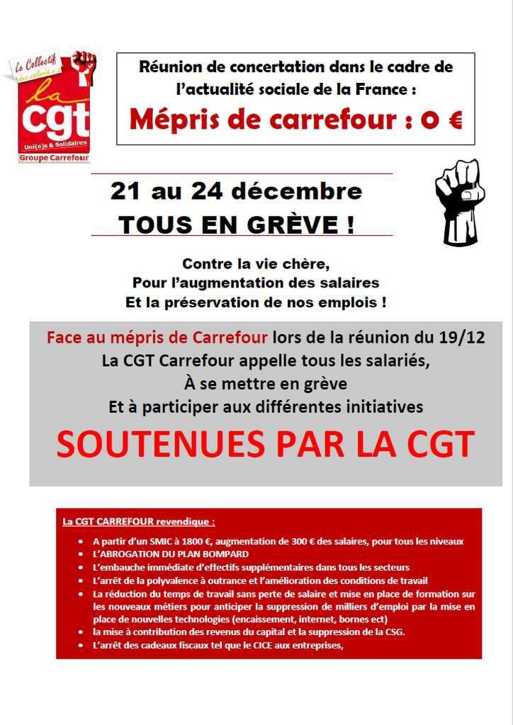 Les salariés du groupe Carrefour sont en grève à partir d'aujourd'hui, et jusqu'à Noël ! Stop au mépris !