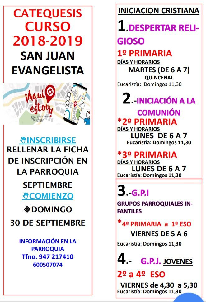 CATEQUESIS CURSO 2018- 2019
