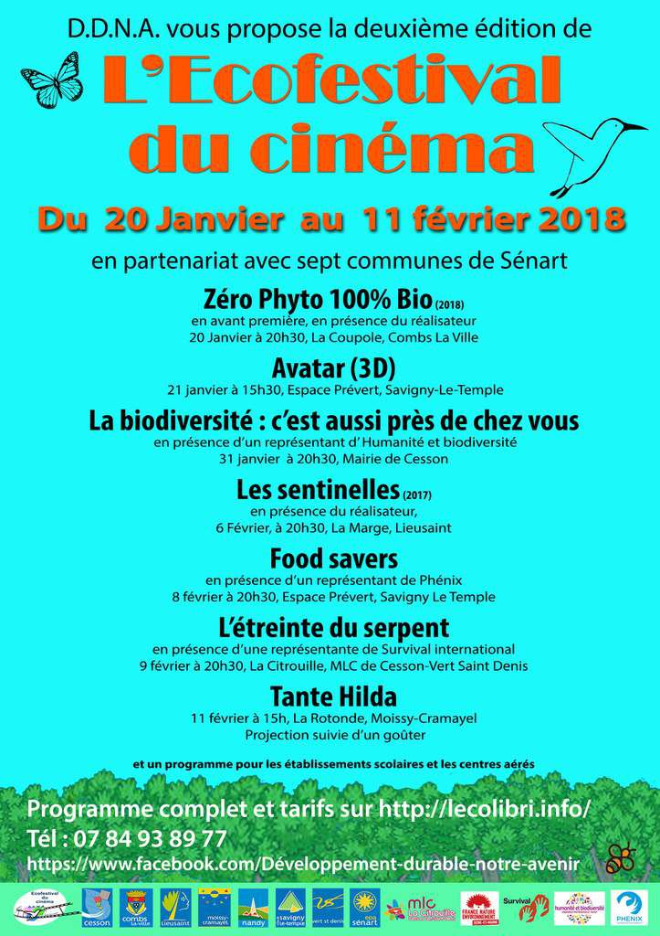 Ecofestival du cinéma à Sénart du 20 janvier au 11 février 2018