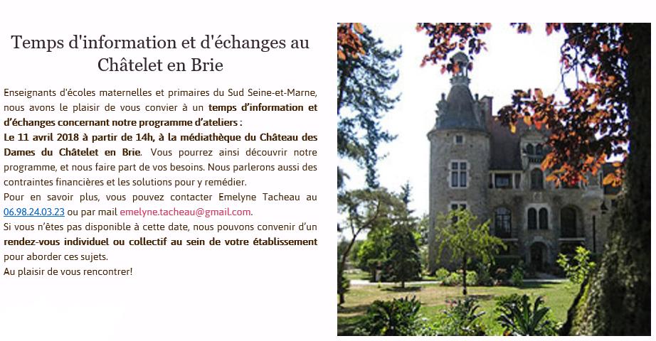 Présentation des animations de l'association Objectif Terre au Chatelet-en-Brie le 11 avril 2018