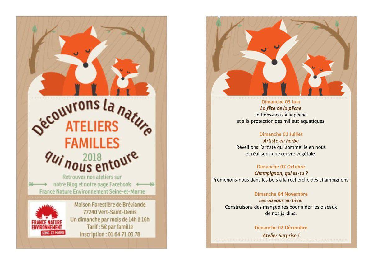 Ateliers familles FNE Seine-et-Marne du 2eme semestre 2018