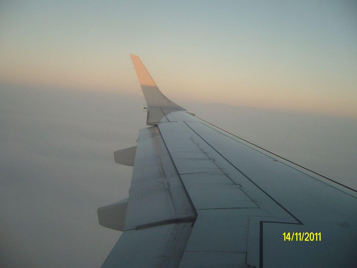une aile d'avion au-dessus de la mer. Jamais je n'ai plus adoré l'aviation.