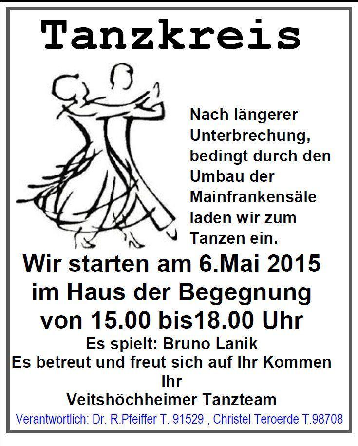 Einladung des Veitshöchheimer Tanzkreises - Es darf wieder getanzt werden! Start am 6. Mai 2015 im HdB