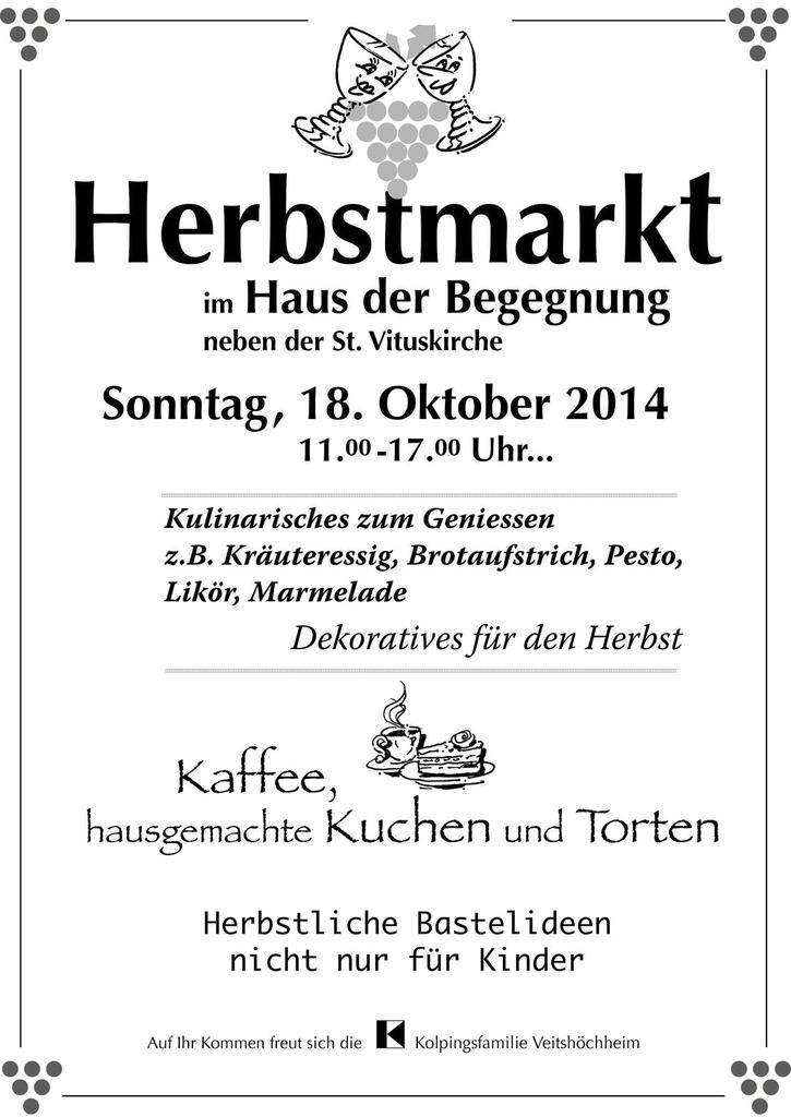 Reichhaltiges Angebot von 17 Hobbykünstlern beim 2. Herbstmarkt der Veitshöchheimer Kolpingsfamilie am Sonntag, 18. Oktober im Haus der Begegnung
