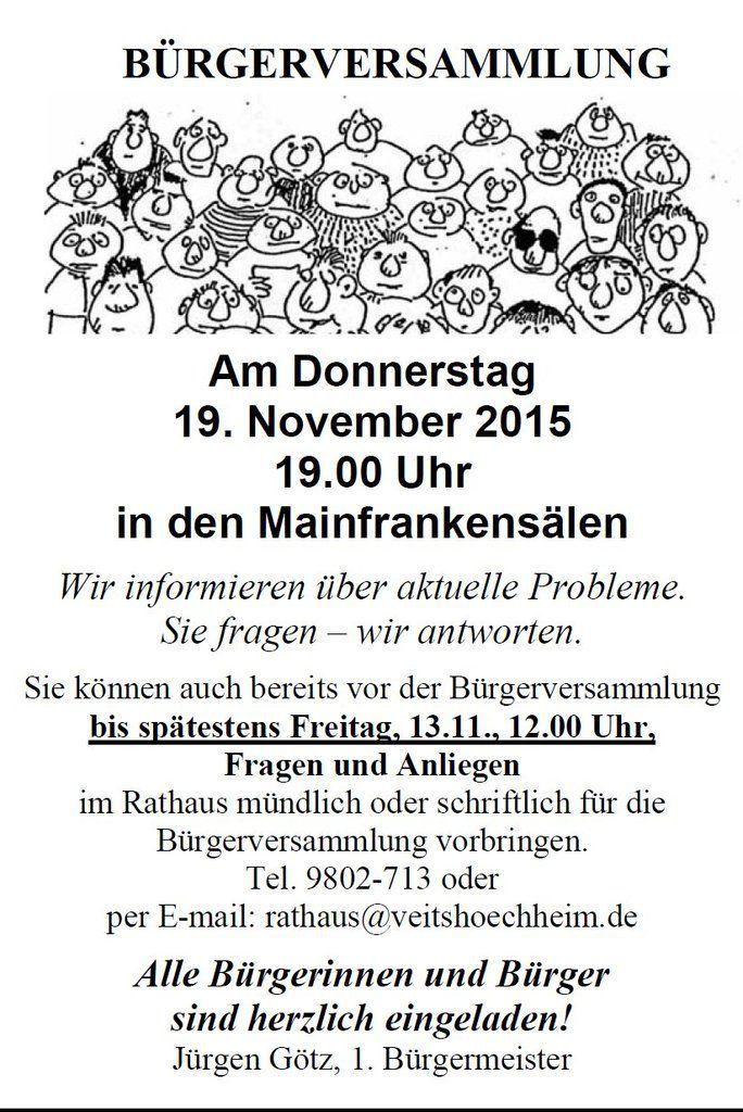 Bürgermeister lädt zur Bürgerversammlung am 19.11. ein
