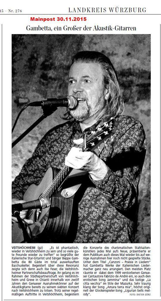 Beppe Gambetta, ein ganz Großer der Akustik-Gitarren-Szene faszinierte im Veitshöchheimer Bacchuskeller mit Canzoni - Italienische Poesie in Liedern
