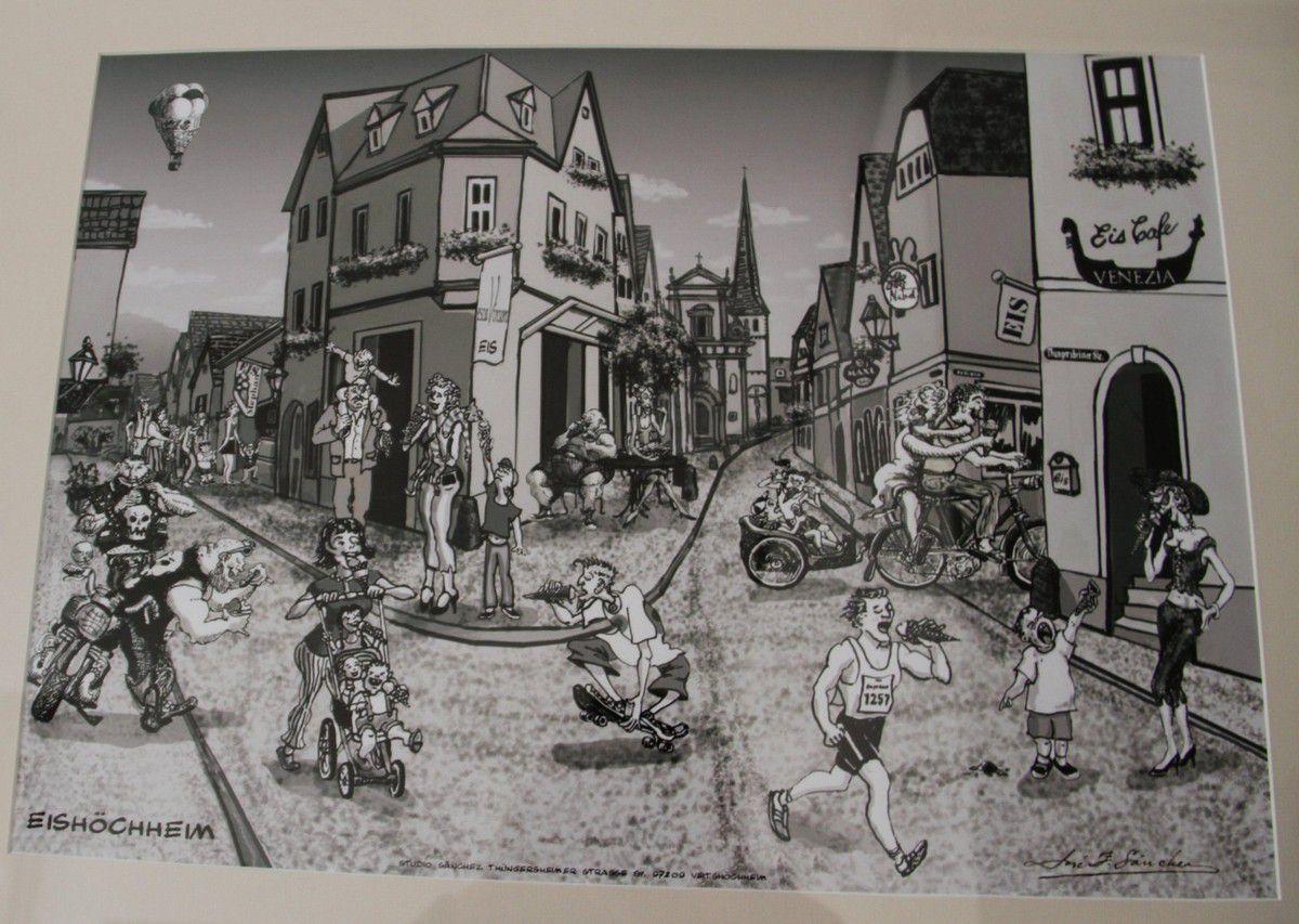 """Treffend illustriert hat der örtliche Maler José Sanchez Veitshöchheims Ruf als Eis-Hochburg, der deshalb in seinem Kunstwerk Veitshöchheim in """"Eishöchheim"""" umtaufte."""