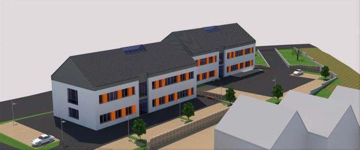 So sah der Vorentwurf der Energieversorgung Lohr-Karlstadt und Umgebung GmbH & Co.KG für den Bau eines Bürogebäudes mit Betriebsstelle in einem ersten Bauabschnittaus, der bis Jahresende an der Nordabfahrt der B27 in Veitshöchheim fertig sein soll. Der Hauptausschuss der Gemeinde hatte der geplanten zweigeschossigen Bebauung mit einem Satteldach (Dachneigung 35°) bereits am 12. Mai 2015 grundsätzlich zugestimmt.