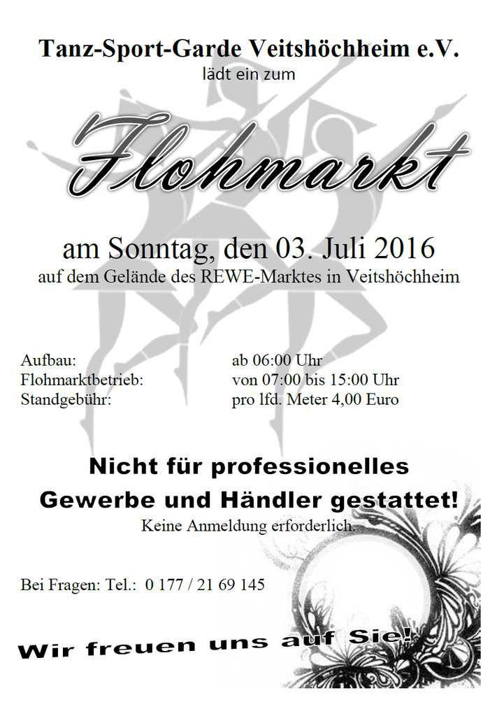 Veitshöchheimer Tanzsportgarde lädt am 3. Juli zum Flohmarkt ein