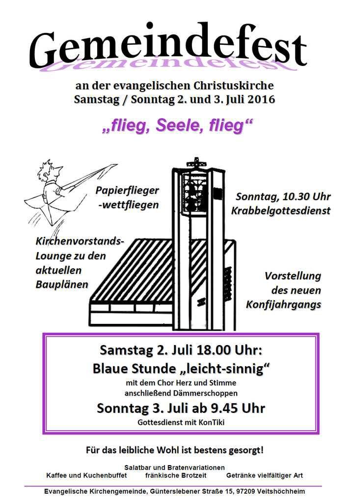 Die evangelische Kirchengemeinde Veitshöchheim lädt am Samstag, 2. Juli und Sonntag 3. Juli zu ihrem Gemeindefest rund um die Christuskirche ein.