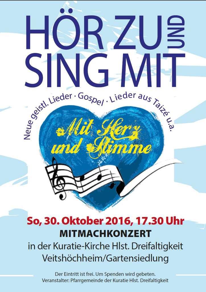 50 Jahre Weihe der Kuratiekirche - Einladung zu einem etwas anderen Mitmach-Konzert  am 30. Oktober 2016