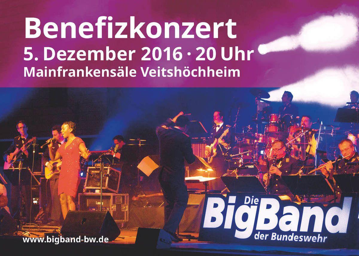 Benefizkonzert für Musikverein Veitshöchheim der Big Band der Bundeswehr am 5. Dezember 2016 in den Mainfrankensälen - 40 Jahre Swing, Rock, Pop in Uniform