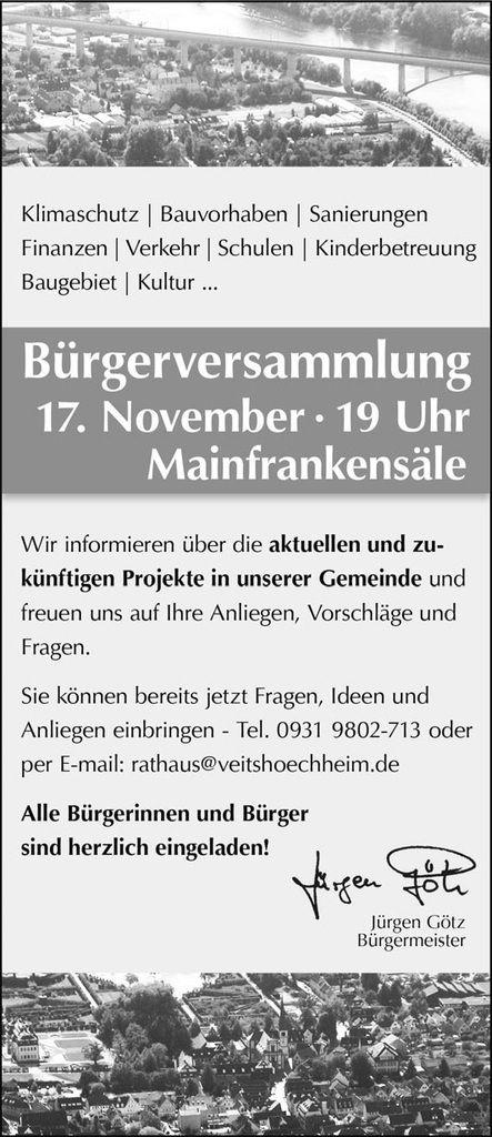 Gemeinde Veitshöchheim lädt zur Bürgerversammlung am 17. November in die Mainfrankensäle ein
