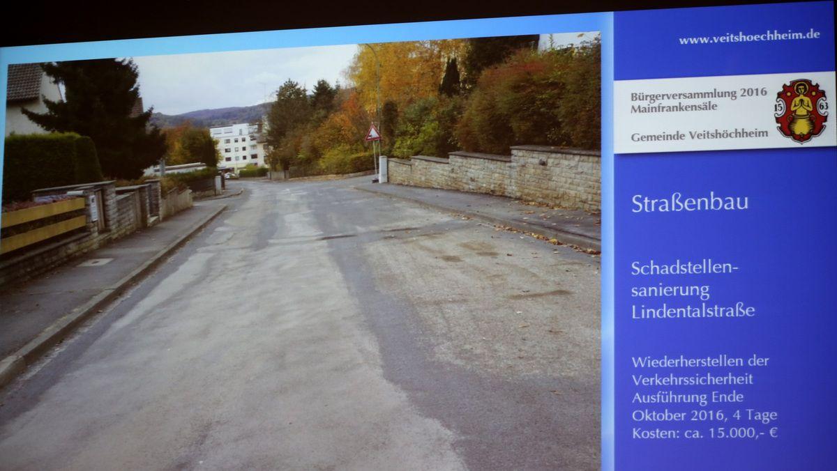 Sehr kurzfristig mussten zur Wiederherstellung der Verkehrssicherheit Ende Oktober die Schäden in der Lindentalstraße ausgebessert werden. Trotz dieser Maßnahme ist weiterhin geplant die Lindentalstraße in den nächsten Jahren vollständig auszubauen.