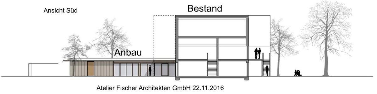 Ansicht des seitlich angeordneten, erdgeschossigen Anbaus, der in Holzbauweise errichtet werden und ein begrüntes Flachdach erhalten soll und den Raum zum Eingang an der Sendelbachstraße fasst. Die reinen Baukosten (Kostengruppe 300) des Anbaus schätzte der Architekt auf 396.000 Euro.