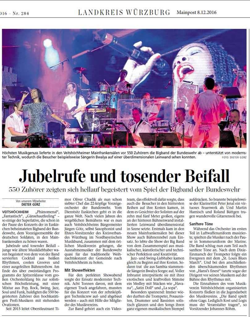 Bigband der Bundeswehr zelebrierte in den Veitshöchheimer Mainfrankensälen höchsten Musikgenuss - 550 Zuhörer hellauf begeistert
