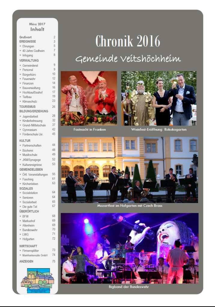 80-seitige Jahreschronik 2016 der Gemeinde Veitshöchheim geht nun kostenlos an alle Haushalte des Ortes