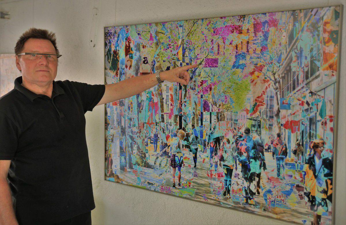 """Der Würzburger Grafik-Designer und Fotokünstler Hans-Joachim Hummel zeigt experimentelle Kunst-Fotografien und RealLive-Aufnahmen mit Motiven aus aller Welt, die ebenfalls die Kraft des Lebens ausdrücken. Er lässt sich auf Reisen zu seinen Motiven inspirieren, die nach ihrer Bearbeitung die Grenzen von Malerei und Fotografie aufheben und die reale Situationen und Orte durch digitale Collagen zu neuen Welten machen. Details sind verwischt, das Große und Ganze sortiert sich neu. Was real ist, lässt sich nur vermuten und neu entdecken. Es entstehen so """"einzigartige, aufregende neue Bildwelten"""", aus realen Situationen und Orten erschaffen. So wirkt auf dem Foto in Le Havre eine der im Weltkrieg zerstörten und danach in moderner Betonarchitektur wieder aufgebauten Boulevards, gesäumt von Häusern in getöntem Beton mit Kolonnaden und klarer, einfacher Ornamentik (2005 als bislang einziges Stadtensemble des 20. Jahrhunderts in das UNESCO-Welterbe aufgenommen) durch Hummels digitale Bearbeitung so richtig anziehend, ein Werk, dass der Künstler im """"gARTen"""" schon dreimal verkaufen konnte (laut Preisliste a 1.150 Euro)"""