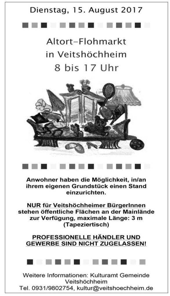 Kleiderflohmarkt Veitshöchheim hilft im Rahmen Altortflohmarkt am 15. August von 8 - 17 Uhr