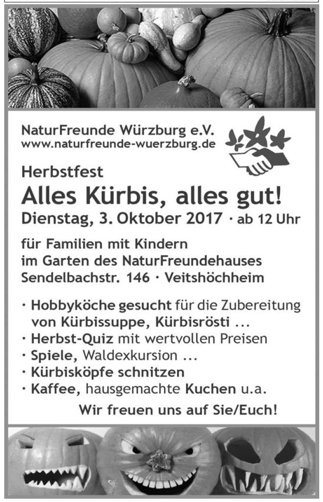 NaturFreunde laden am 3. Oktober zum Kürbis-Herbstfest im Garten des Veitshöchheimer NaturFreunde-Hauses ein