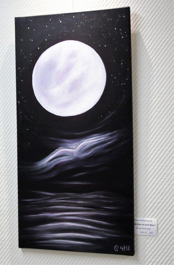 """Nach einem Gedicht von Eichendorff malte die Künstlerin dieses Ölbild """"Als fliege sie nach Hause""""."""